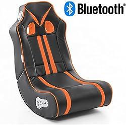 Wohnling Soundchair Ninja in Schwarz Orange mit Bluetooth   Musiksessel mit eingebauten Lautsprechern   Multimediasessel für Gamer   2.1 Soundsystem - Subwoofer   Music Gaming Sessel Rocker Chair