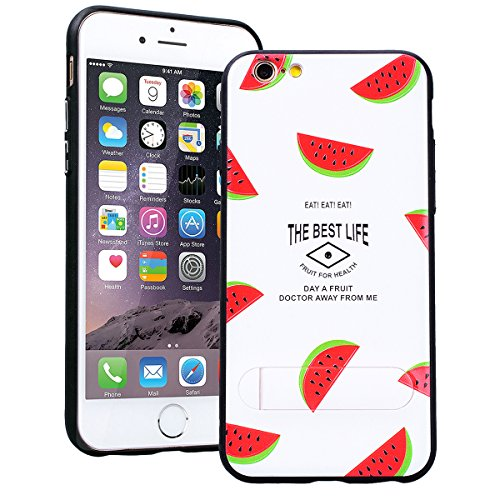 SMART LEGEND iPhone 6S Plus Hardcase iPhone 6 Plus Hülle mit Standfunktion Schutzhülle mit Frucht Obst Muster Shiny Tasche Skin Schale Hart PC Backcover Case für iPhone 6 Plus/iPhone 6S Plus Hartschal Wassermelone