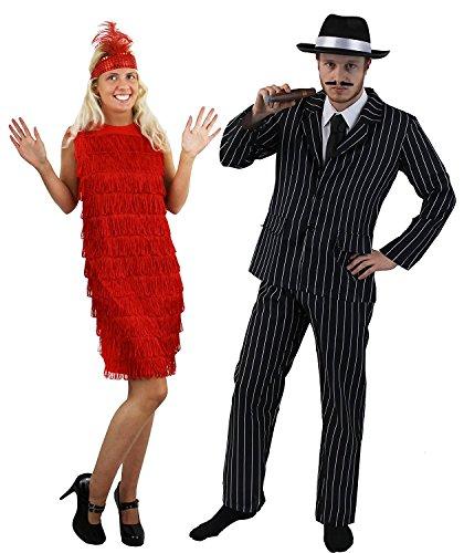 Für 1920 Kostüm Paare - 1920's CHARLESTON =GANGSTER PAARE= HALLOWEEN -KARNEVAL -FASCHING=NADELSTREIFEN ANZUG IN 5 GRÖSSEN +GANGSTER HUT+ ZIGARRE+SCHNÄUTZER +FRANSEN KLEID+STIRNBAND+FEDER = ANZUG-XL+KLEID/ROT-L