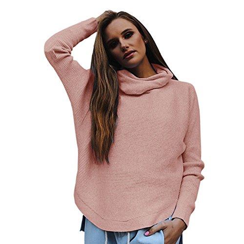 Meijunter femmes manches longues col haut chemises en tricot Tops Pull rayé pull élégant Rose
