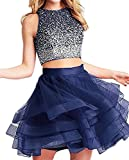 Fanciest Women's Beaded Two Pieces Homecoming Dresses 2017 Ruffles Short Prom Gowns Navy Blue US6