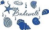 GRAZDesign 650140_40_052 Wandtattoo Unterwasserwelt/Nuscheln/Ozean - Fliesen-Aufkleber-Tattoo für Badezimmer (64x40cm//052 azurblau)