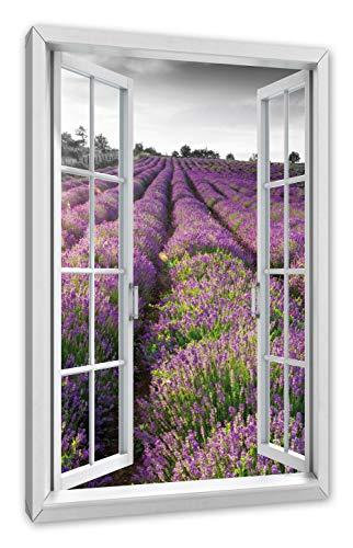 Pixxprint Lavendelfelder in der Provence, Fenster Leinwandbild |Größe: 120x80 cm | Wandbild | Kunstdruck -