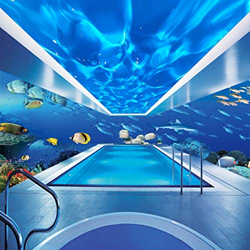 wanpaper Tapete vlies 3D Cartoon Meeresgrund Welt Tapete Kinderzimmer Marine Thema Wandbild Schlafzimmer Baby Pool Wallpaper <400 × 200Cm>