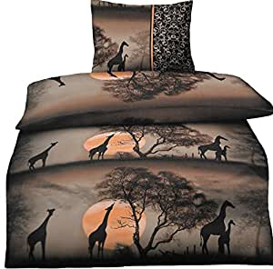 bettw sche afrika safari 135 x 200 cm oder 155 x 220 cm in braun aus microfaser qualit tsware. Black Bedroom Furniture Sets. Home Design Ideas