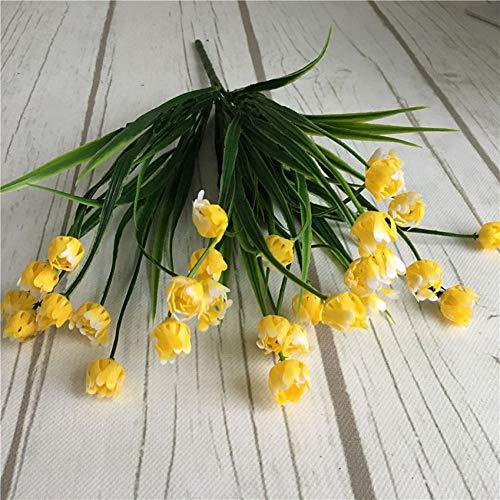 Mtqvv fiore artificiale 23 teste mini tulipani bouquet di plastica fiore artificiale per la primavera decorazione della casa matrimonio bianco fiori finti tulipano
