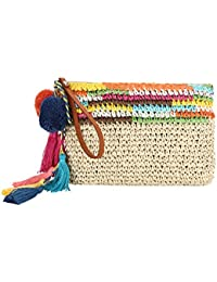 Summer Clutch Purse By Daisy Rose| Unique Straw Summer Purse & Handbag With Leather Handles And Pom Poms
