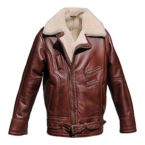 Hollert German Leather Fashion Lammfelljacke - VANDAMM Herren Lederjacke Felljacke Bikerjacke Größe M, Farbe kastanienbraun (Kastanienbraun Herren Leder Jacke)