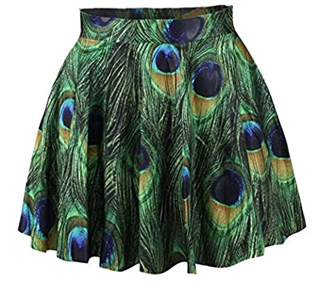 Women Girls Casual High Waist Stretch Waist Flared Pleated Mini Skirt Peacock