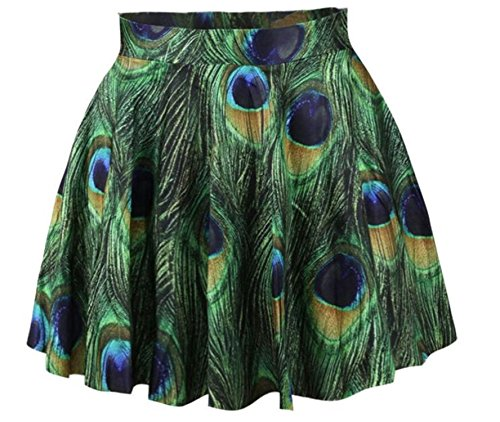 Women Girls Casual High Waist Stretch Waist Flared Pleated Mini Skirt Peacock (Seide Peacock Print)