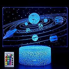 Sonnensystem 3D Nachtlicht Universum Raum Galaxie Illusion Lampe Ideale Geschenke für Kinder Jungen und Mädchen wie an Geburtstagen oder Feiertagen Weihnachten (Solar System)