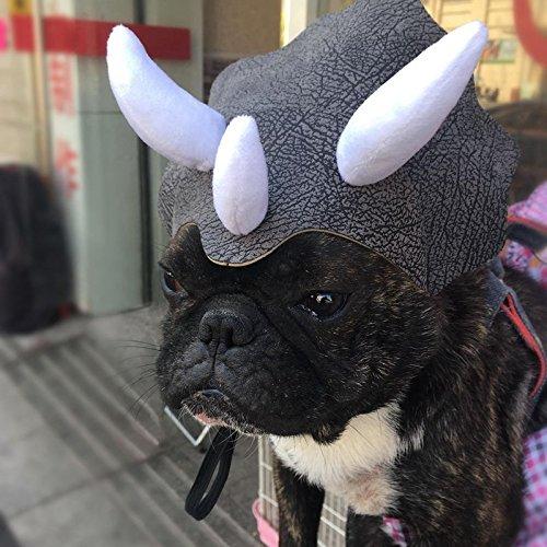 POPETPOP Cute Pet Cosplay Hut Triceratops Hut Dinosaurier Kopfbedeckung Hut Hund Einstellbare Schnalle Kostüm Festival Cap