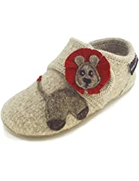 Haflinger 483078 Everest Lion Kinder Hausschuhe Hüttenschuhe Wolle, Größe:28;Farbe:Beige