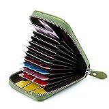 AirZyx Kreditkartenetui Damen Leder RFID Schutz Reißverschluss (Grün)