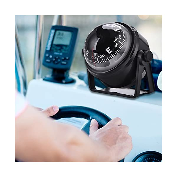 Dilwe Boat Compass, Black Electronic Adjustable Compass for Boat Night Vision