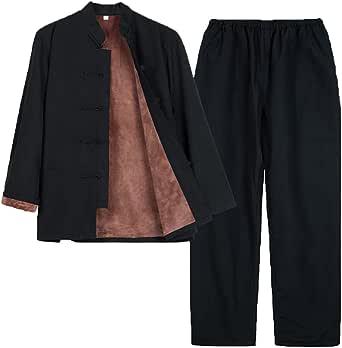 Winter Cotton Tang Suit Set Plus Velvet Men Thick Tai Chi Uniform Long Sleeve Chinese Traditional Clothes Tops Pants,Hanfu Jacket Kung Fu Clothing Shirt Coat