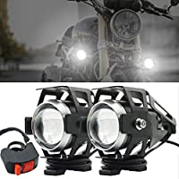 Motorcycle Headlights,Biqing Motorbike Spot Driving Lights CREE U5 Motorcycle Front Spotlights Additional Fog Lights DRL 125W 3000LM with Switch for Motorcycle Quad Scooter Car Truck Boat Bike
