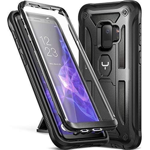 YOUMAKER Cover Galaxy Samsung S9, Custodia Rigida a 360 gradi Protezione Schermo Con Integrata Kickstand Rugged Case per Samsung Galaxy S9 2018, Nero