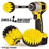 Drillbrush Cucina di Pulizia Spazzole per Kit Trapano con Long Reach attaccamento. Tre Pezzi Medium Power Scrub Brush Set all Purpose Medio-Giallo