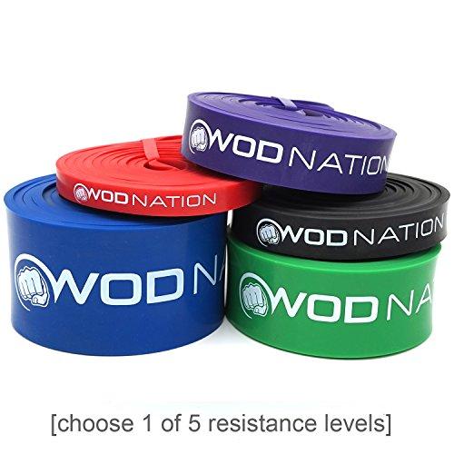WOD Nation Resistance Band Fitnessband   Grünes Band 110-275 kg (50-125 lbs)   Perfekte Klimmzughilfe für Muskelaufbau, Übungsband für Pull Ups, Chin Ups, Mobilitätstraining und Ring Dips beim CrossFit-Training