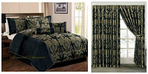 Blumen Königin Tröster Set (Jacquard, Luxus 7Stück Tröster Set, Tagesdecke & Passende Vorhänge (228,6x 228,6cm), Jaquard-Gewebe, schwarz, King Size)