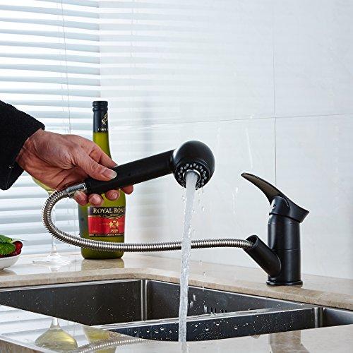 Fapully Küchenarmatur Mischbatterie Küche Wasserhahn Spültischarmatur Spülbecken Armatur Herausziehbar Ausziehbar Schwenkbar Schwarz Küchenarmatur In Warehouse Deals