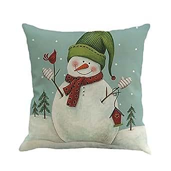 Cuscino di Christmas, Longra Pupazzo di neve di Natale di stampa di lino federa (multicolore_A)