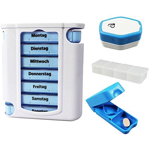 COM-FOUR® 7 Tage Medikamentendosierer blau/weiß Set - mit 1x Pillendosen für Unterwegs, Tablettenteiler und Tablettenmörser (1 Stück + Pillendose+Mörser+Tablettenteiler)