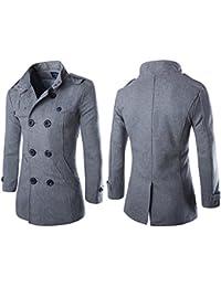 Vktech® Men's Woolen Outerwear Winter Pea Overcoat Double Breasted Trench Coats (L, Gray)