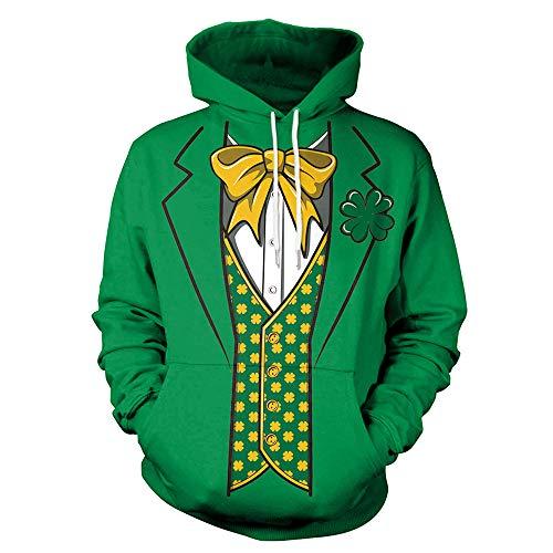 ZGDGG St.Patrick's Day Sweatshirt Irish Green, Erwachsene Kobold Kostüm Kostüm Kostüm, grünes Kleeblatt und Fliege,XXL