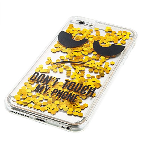 For iPhone 6 PLUS 5.5[CUTE SPARKLING]Novelty Creative Liquid Glitter Design Liquid Quicksand Bling Adorable Flowing Floating Moving Shine Glitter Case -GOLD EIFFEL GOLD NOT TOUCH