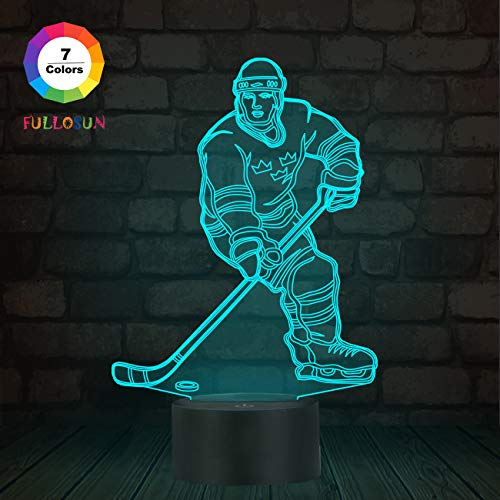 3D Illusion Eishockey Athlet Nachtlicht mit 7 Farben Ändern USB Power LED Nachttischlampe Dekoration Brithday Kind Kinder Geschenk