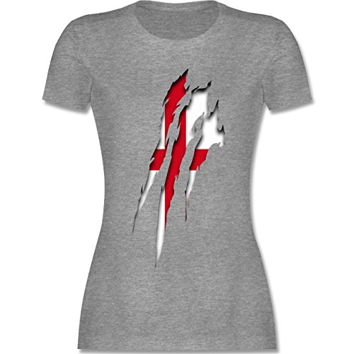 Länder - England Krallenspuren - tailliertes Premium T-Shirt mit Rundhalsausschnitt für Damen Grau Meliert