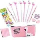 Cadeaux Flamingo pour enfants, 6 pcs Stylo à bille noir Stylos mignons qui pointe 0,5 mm Flamingo Étui à crayons Fourniture scolaire Fournitures de bureau Stylos de signature