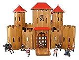 Unbekannt 931 0240 D7 Drewart Ritterburg mit Ritterfiguren, Burg aus Holz
