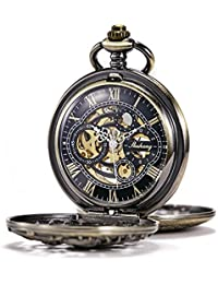 TREEWETO Retro Bronze Mechanical Pocket Watch Dragon Case Double Half Hunter Design Skeleton Roman Numerals Pocket Watches with Chain and Gift Box