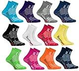 Rainbow Socks - 12 Paar Sportsocken für KINDER – Atmende BAUMWOLLE – zum Laufen, Radfahren und anderen Sportarten – MEHRFARBIG Pack| Größen: 24-29, Made in EU