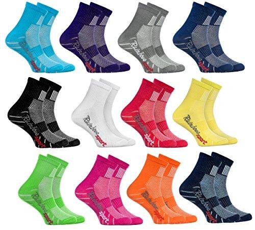 Rainbow Socks Calzini Sportivi per BAMBINI COTONE Respirante da Correre Bicicletta ed altri SPORT Attrattive Combinazioni di Colori per Ragazza e