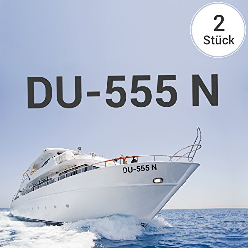 Motoking Bootskennzeichen - Ihr Kennzeichen als Aufkleber - Wähle Farbe & Größe - Schwarz Seidenmatt - Höhe: 10 cm