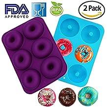 Silikon Donut Formen 2Pack 6Cavity Antihaft Backblech Maker Pfanne Hitze Widerstand BPA-frei Donut Form Muffin Tassen Kuchen Kekse Backen Ring für Kuchen, Keks Bagels Meiso