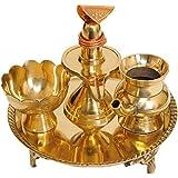 Exotic India Puja Thali for Worship of Shiva Linga - Brass