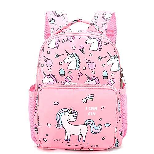 zhongjiany Kindergarten Unicorn Girls Niños Mochilas Escolares Mochilas para Libros 2-5 años(Pink)