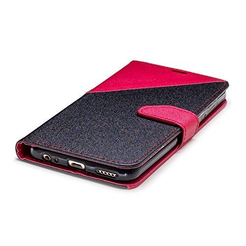 Coque Huawei Mate 10 Lite,Etui Huawei Mate 10 Lite,Surakey Huawei Mate 10 Lite Cuir PU Housse à Rabat Portefeuille Étui Flip Case Folio à Clapet Stand de Fermeture magnétique, Noir+Rouge