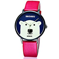 BAOSAILI Big White Bear Design Animal Cartoon Watch For Girls with red leather