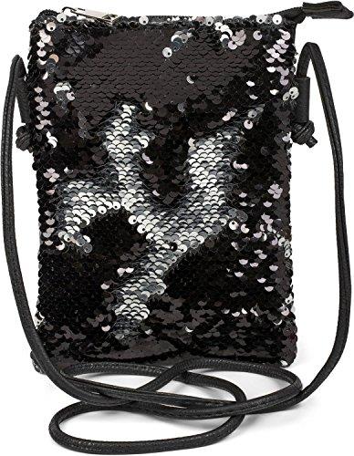 styleBREAKER Mini Bag Umhängetasche mit Wende-Pailletten, Schultertasche, Handtasche, Tasche, Damen 02012240, Farbe:Schwarz / Silber