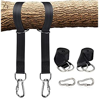 ANGGO Tree Swing Hanging Straps Holds 2000 lbs,5ft Extra Long Swing Hanging Strap Kit with Safer Lock Snap Carabiner Hooks, Perfect for Tree Swing & Hammocks, Perfect For Swings (5ft - Black)