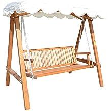 silla columpio balancn jardn con toldo de madera maciza carga max kg terraza aire libre