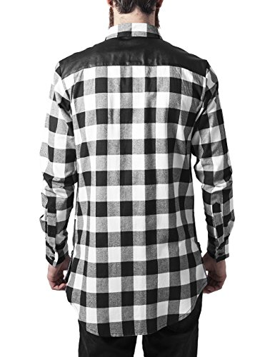 Urban Classics Herren Freizeithemd Side Zip Leather Shoulder Flanell Shirt Mehrfarbig (blk/wht 50)