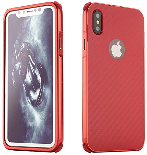"Coque Iphone X Edition, Iphone X Case, Iphone X Coque, Iphone X Protection, Coque Iphone 10 euros, Nnopbeclik® 2in1 set ""Rugged Armor"" Premium Hard Case Slim Ultra-thin Ultra-léger Housse (5.8 Pouces) rouge"