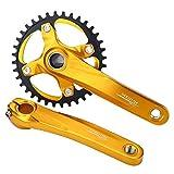Fahrrad Kurbelgarnitur Single 1 fach BCD 104 mm 170mm Mountain Bike Alu Kurbelsatz für Shimano Sram Sunrun ( Farbe : Gold )